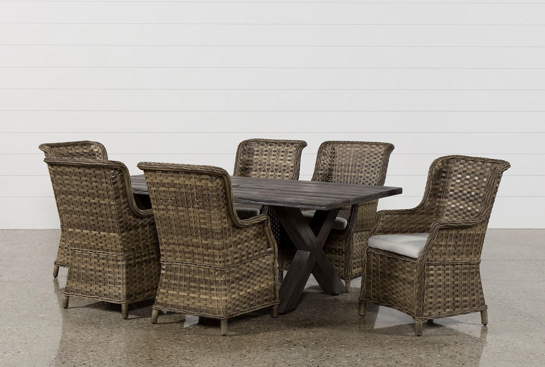 Well Liked Caira Black 7 Piece Dining Sets With Upholstered Side Chairs Throughout Outdoor Tortuga 7 Piece Dining Set W/aventura Side Chair (View 24 of 25)