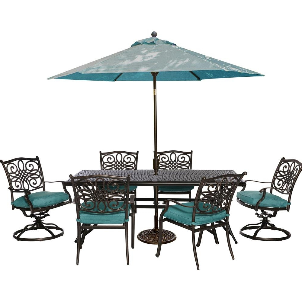 Well Liked Cambridge Seasons 7 Piece Patio Outdoor Dining Set With Blue For 8 Seat Outdoor Dining Tables (View 24 of 25)