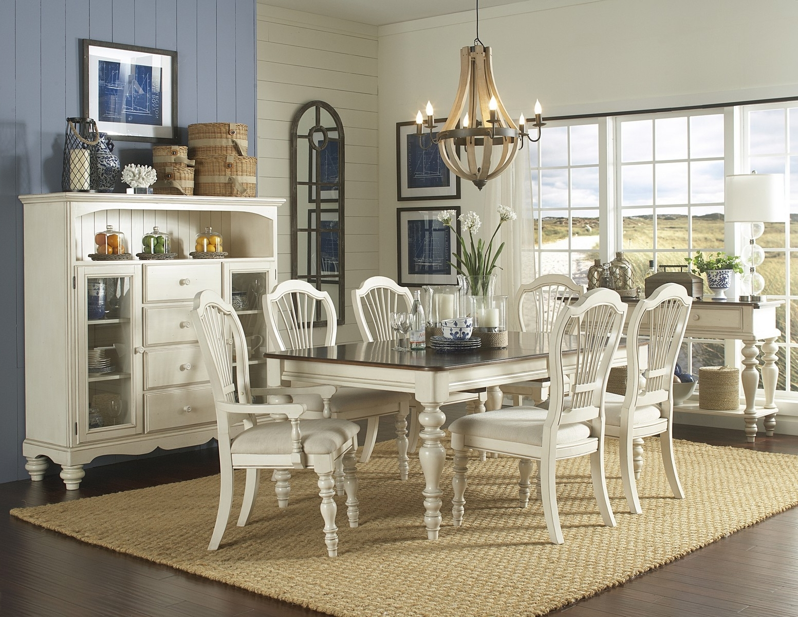 Featured Photo of Chandler 7 Piece Extension Dining Sets With Fabric Side Chairs