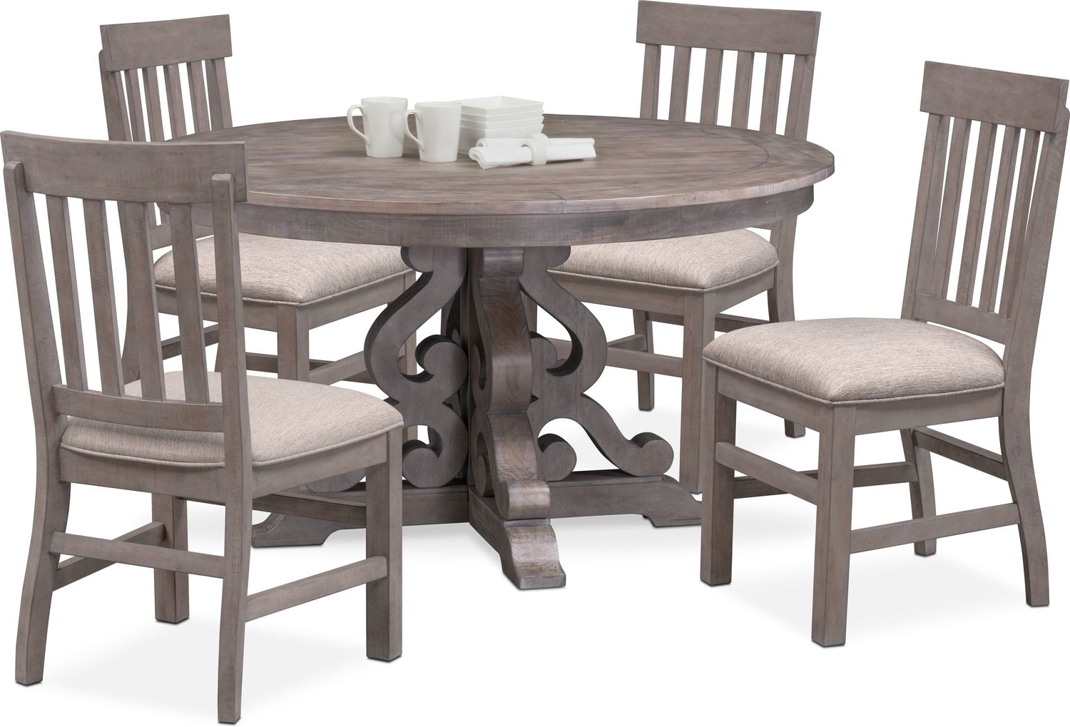 Well Liked Charthouse Round Dining Table And 4 Side Chairs – Gray (View 24 of 25)