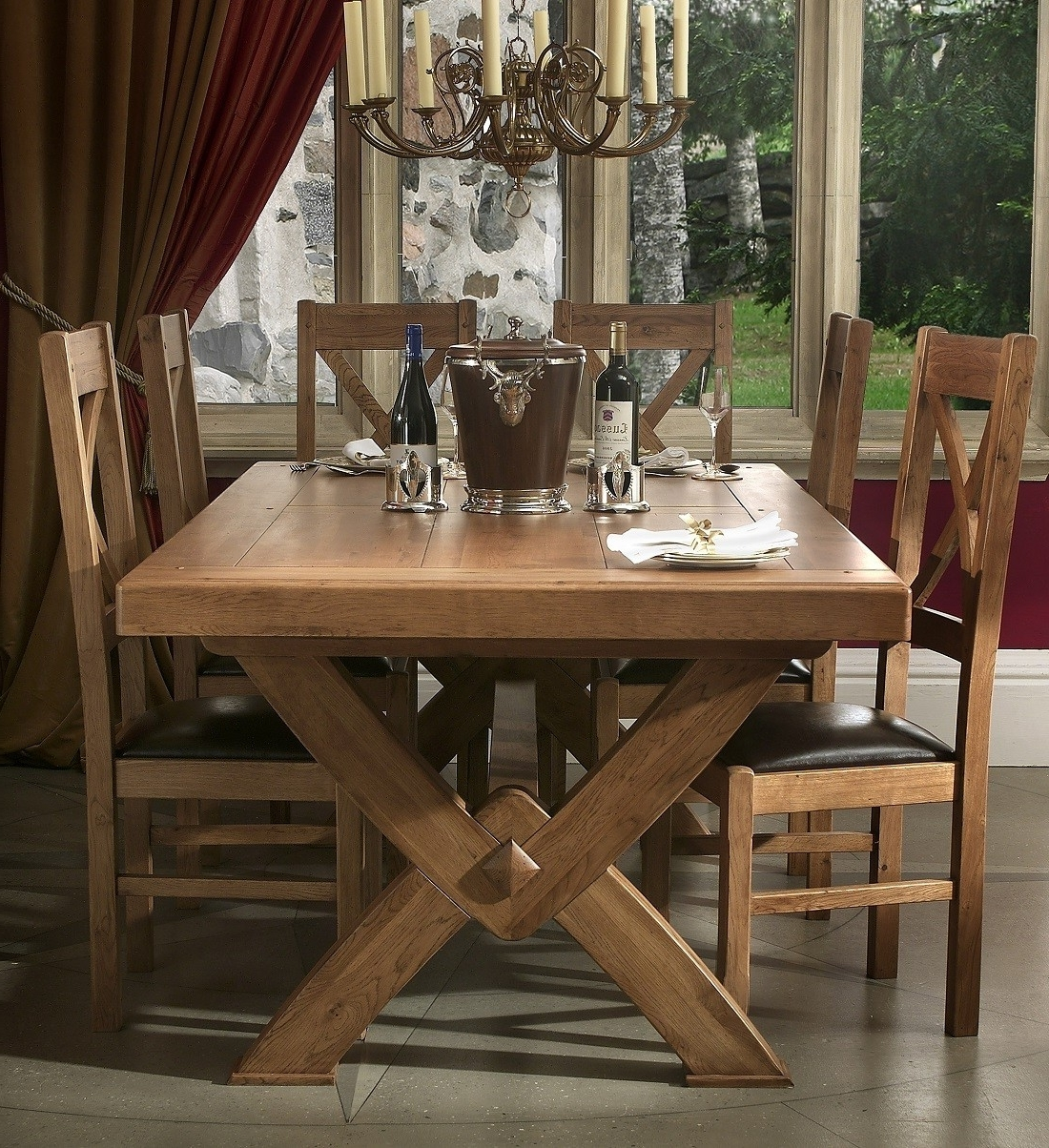 Well Liked Chateau Solid Oak Cross Leg Extending Dining Table (View 21 of 25)