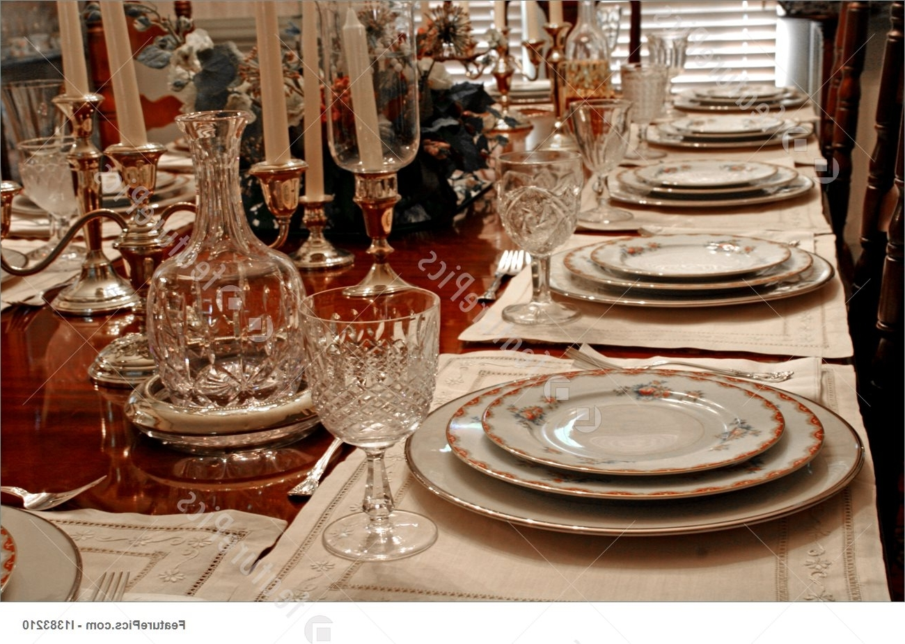 Well Liked Crystal Dining Tables Intended For Served Tables: Formal Place Setting – Stock Image I1383210 At (View 21 of 25)