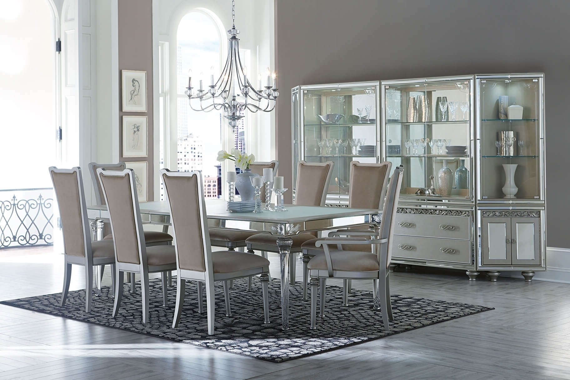 Well Liked Crystal Dining Tables Within Michael Amini Bel Air Park Crystal Dining Set – Usa Warehouse Furniture (View 23 of 25)