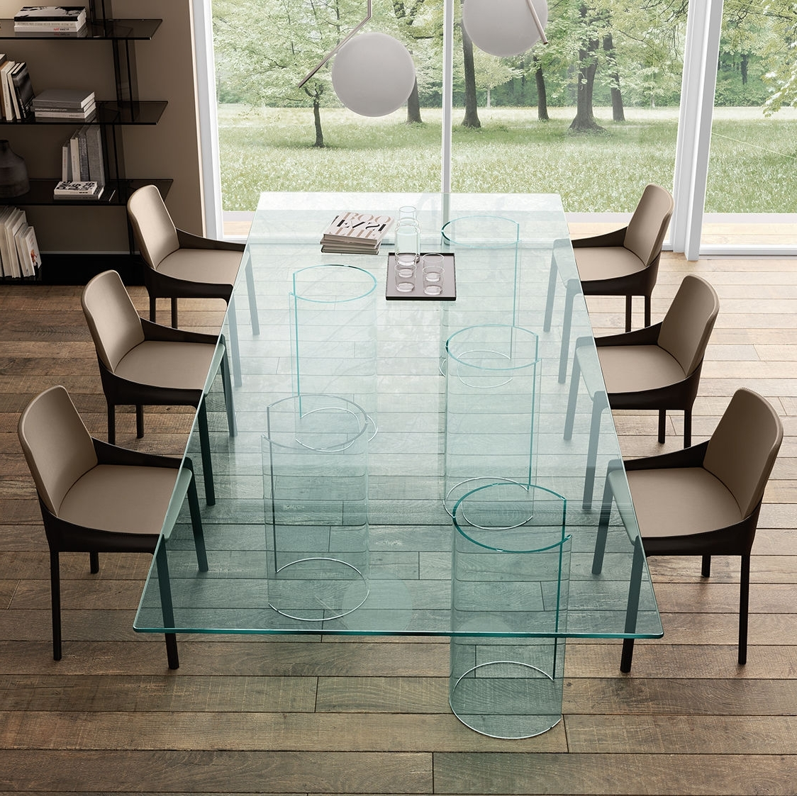 Well Liked Curved Glass Dining Tables With Contemporary Dining Table / Smoked Glass / Curved Glass (View 7 of 25)