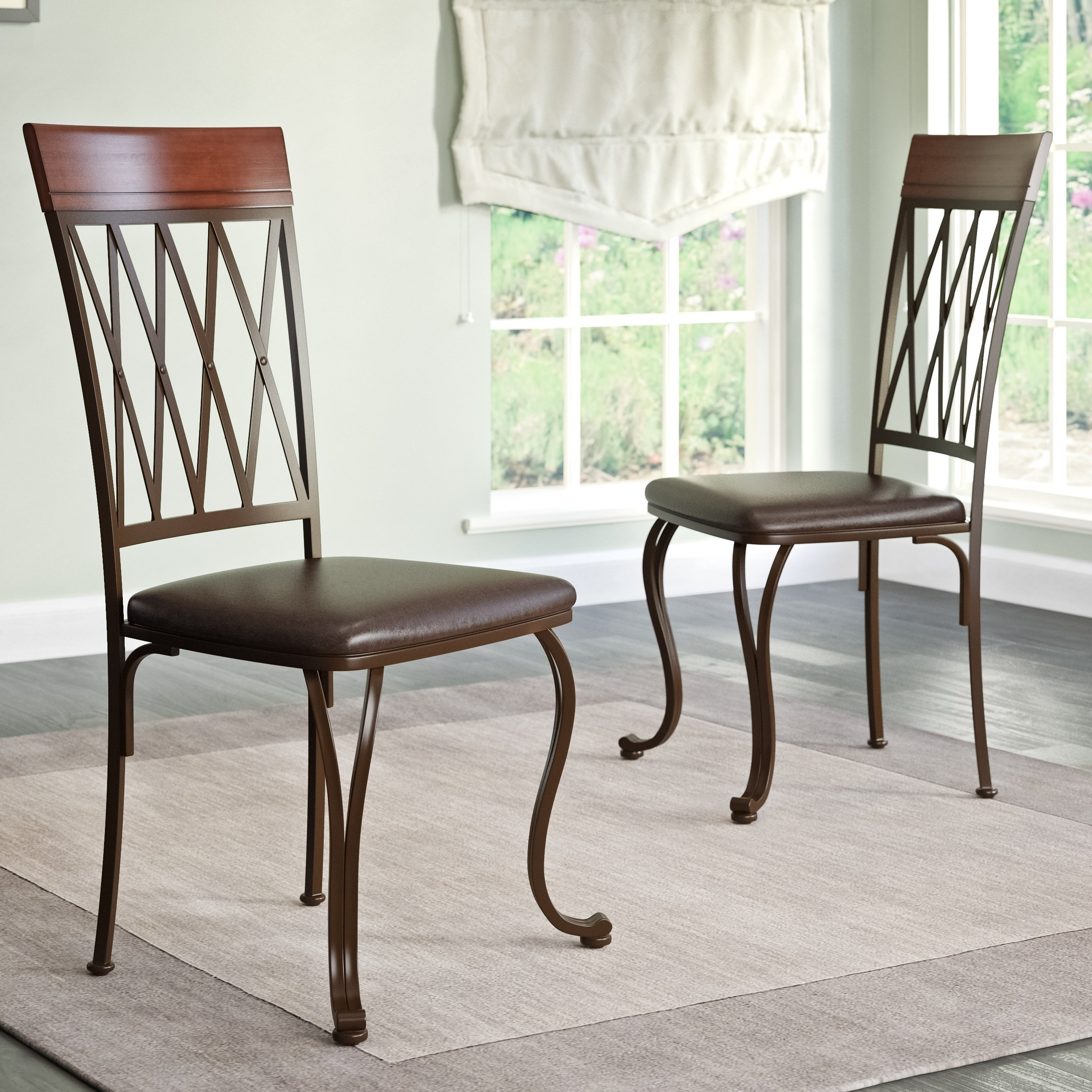 Well Liked Dark Brown Leather Dining Chairs Pertaining To Shop Corliving Jericho Dark Brown Bonded Leather And Metal Dining (View 25 of 25)