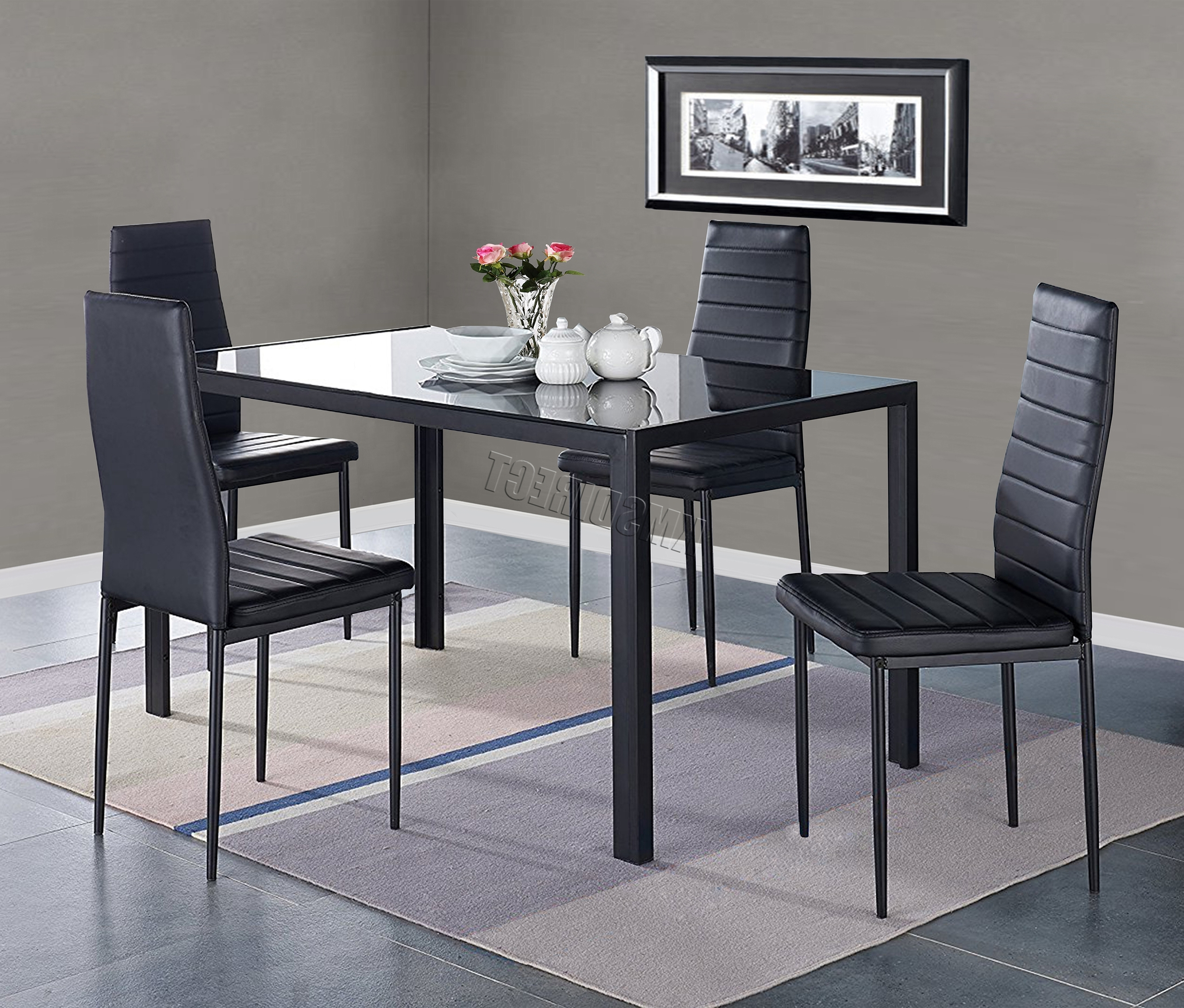 Well Liked Details About Westwood Glass Dining Table With 4 Chairs Faux Leather Dining Room Ds07 Black Within Black Glass Dining Tables And 4 Chairs (View 22 of 25)