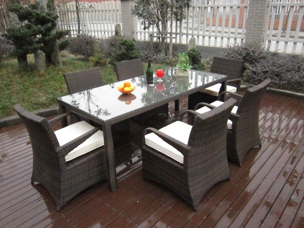 Well Liked Dining Set For Modern Outdoor Deck With Rattan Table And Chairs Feat In Rattan Dining Tables And Chairs (View 14 of 25)