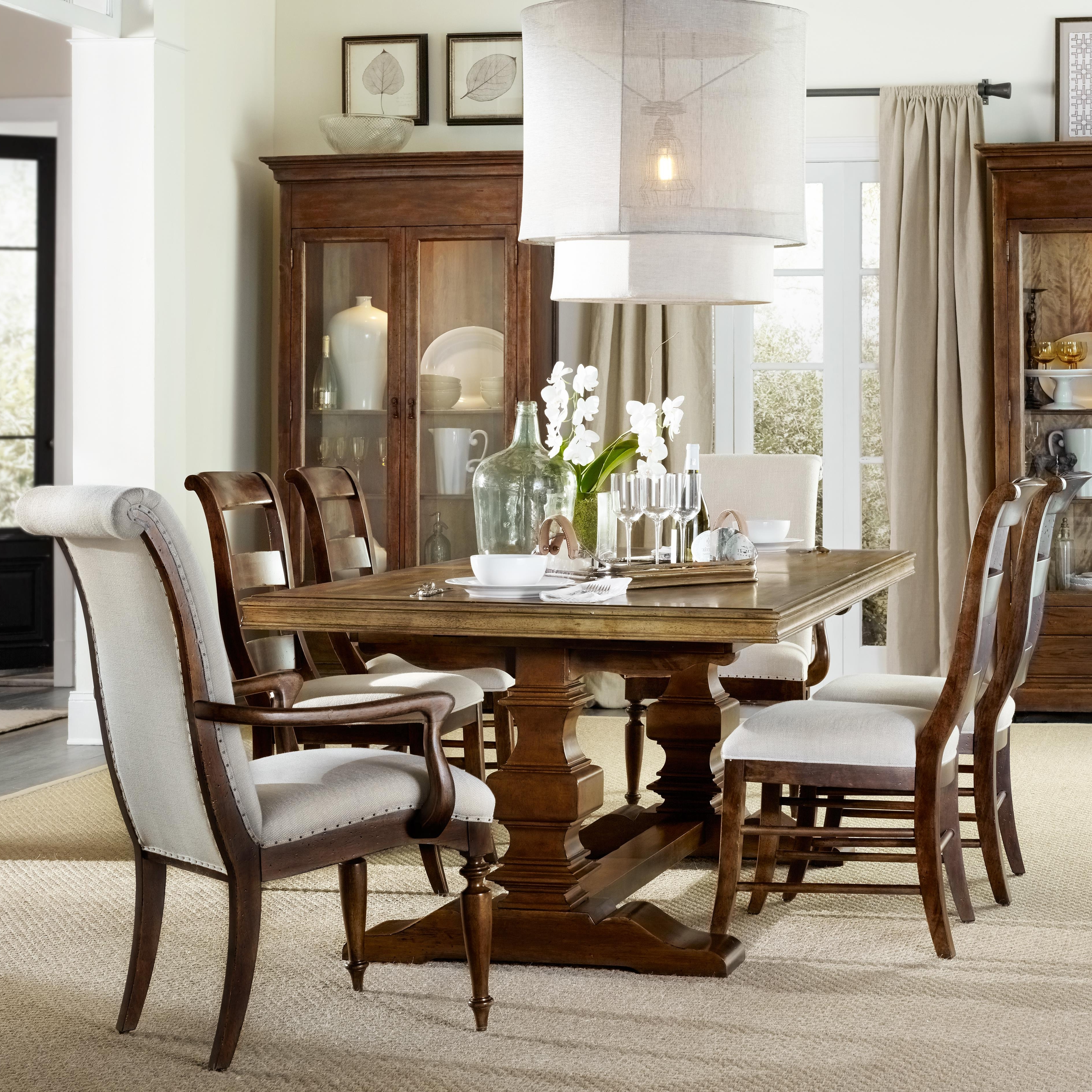 Well Liked Dining Sets Within Hooker Furniture Archivist 7 Piece Dining Set With Trestle Table (View 25 of 25)