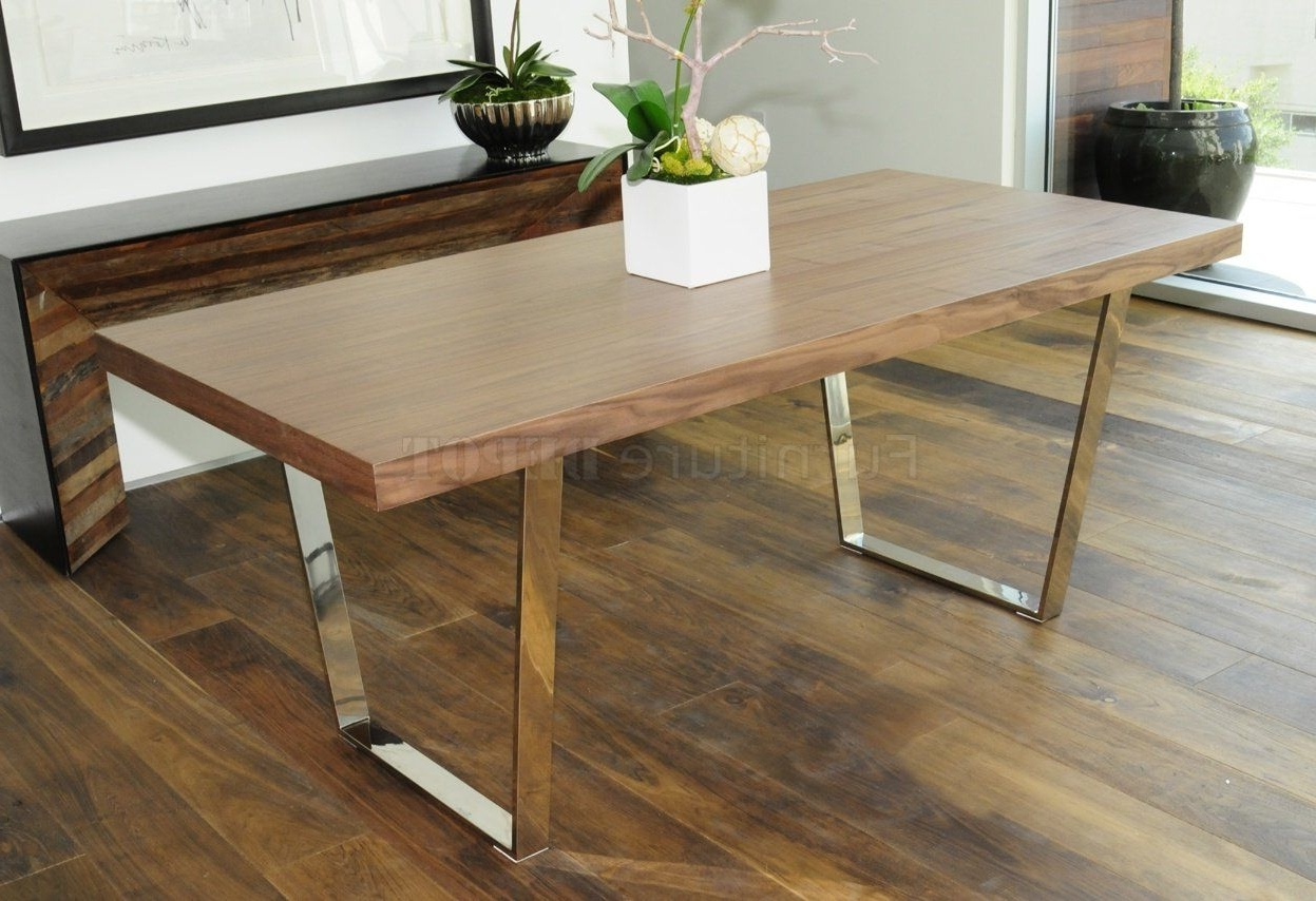 Well Liked Dining Tables With Metal Legs Wood Top Pertaining To Modern Desk / Table With Metal Legs (View 22 of 25)