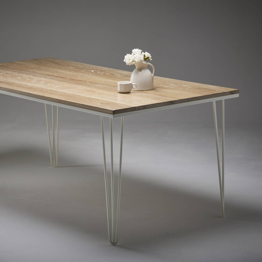 Well Liked Dining Tables With White Legs Intended For Whitewashed Oak Dining Table With Choice Of Steel Legswicked (View 25 of 25)