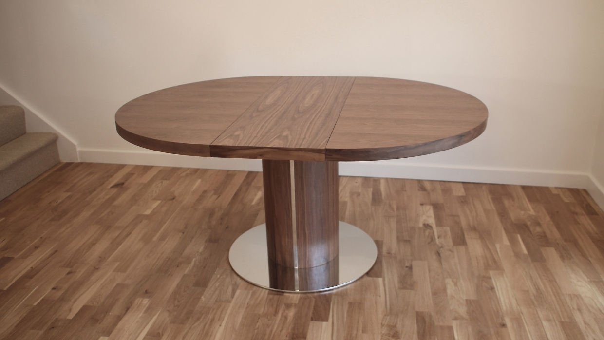 Well Liked Extendable Round Dining Tables Pertaining To Cool Round Walnut Extendable Dining Table With Round Steel Base In (View 25 of 25)