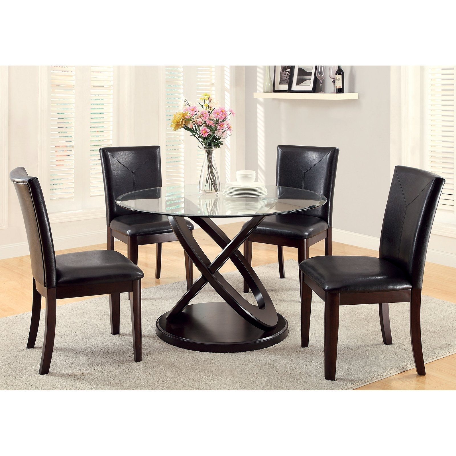 Well Liked Furniture Of America Ollivander 5 Piece Glass Top Dining Table Set Throughout Glass Dining Tables Sets (View 3 of 25)