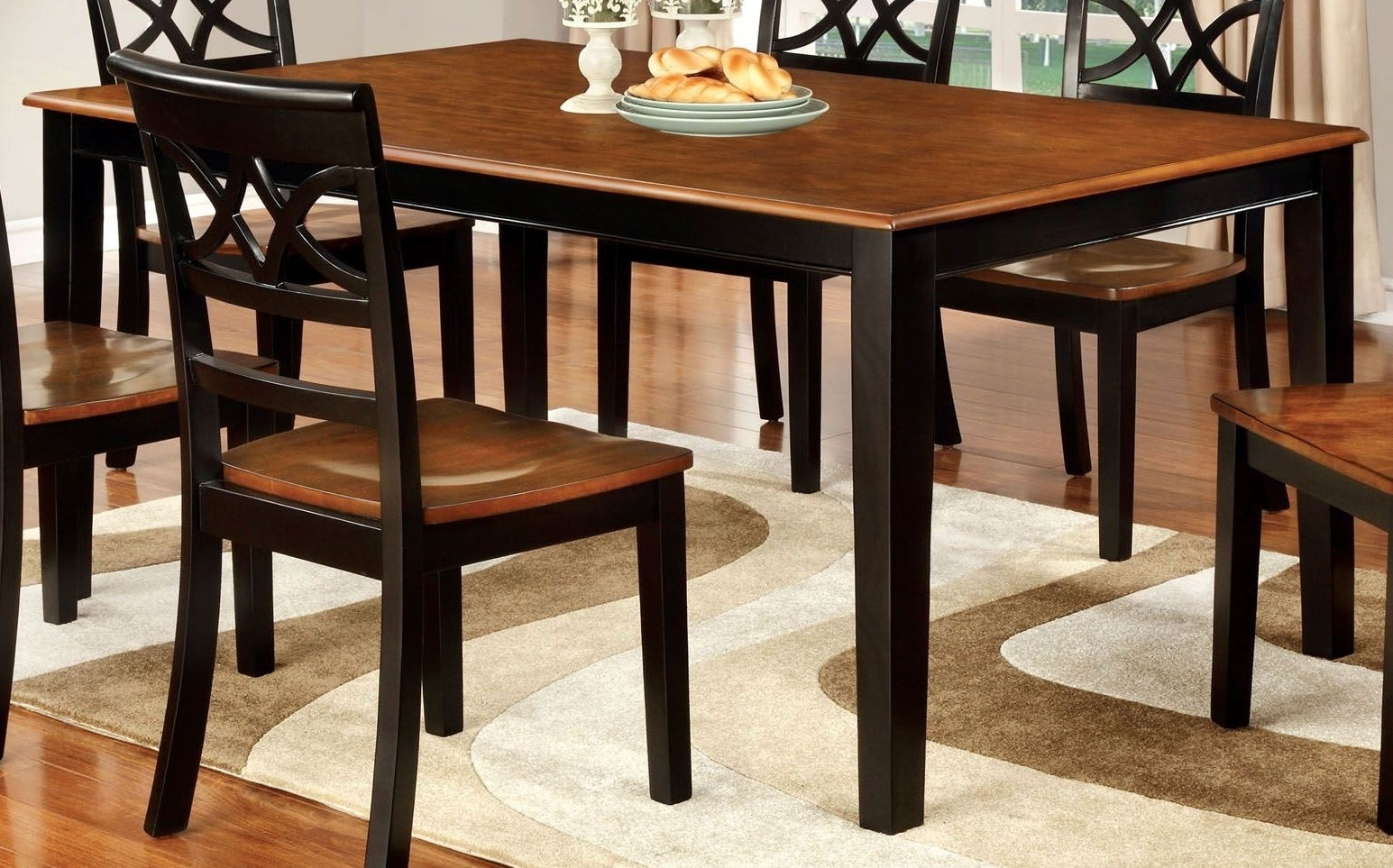 Well Liked Furniture Of America Torrington Black And Cherry Rectangular Within Craftsman 7 Piece Rectangular Extension Dining Sets With Arm & Uph Side Chairs (View 24 of 25)