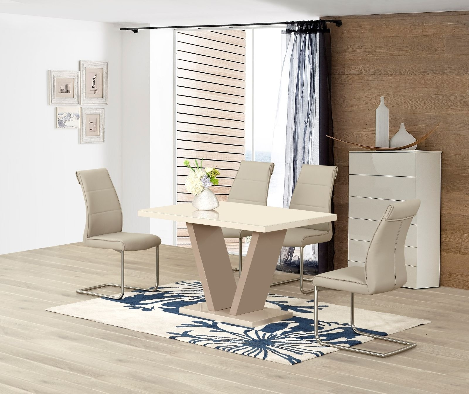 Well Liked Ga Vico Cream Gloss Designer 120 Cm Dining Set & 4 Araceli Or Sicily For Cream Gloss Dining Tables And Chairs (View 8 of 25)