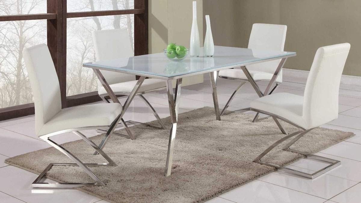 Well Liked Glass Dining Tables And Leather Chairs Pertaining To Dining Table: Endearing Dining Room Design With White Leather Dining (View 18 of 25)