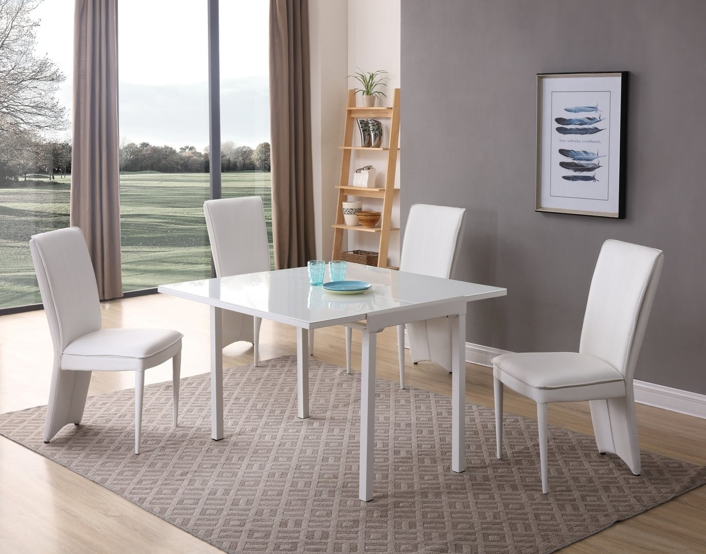 Well Liked Glass Dining Tables White Chairs Intended For Matt White Glass Dining Table And 4 Chairs – Homegenies (View 25 of 25)
