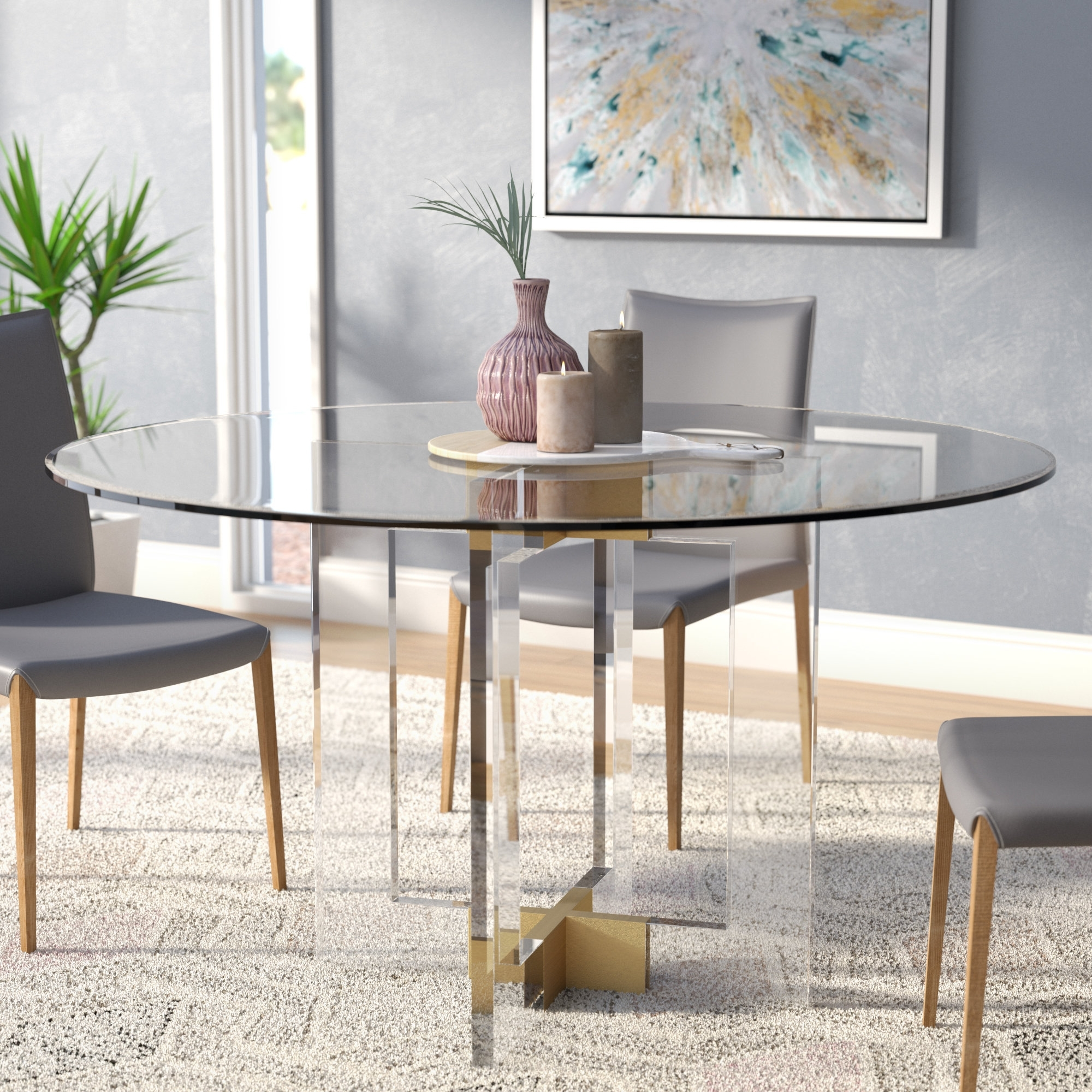Well Liked Glasses Dining Tables Intended For Willa Arlo Interiors Gosta Round Glass Dining Table (View 16 of 25)