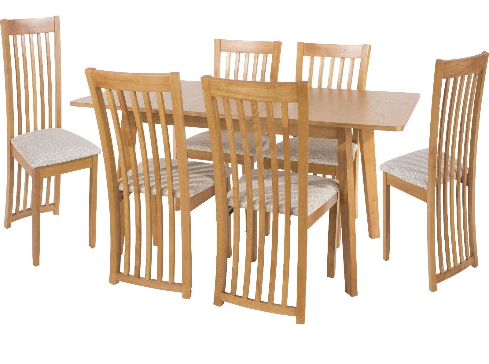 Well Liked Hamilton Solid Oak Extending Dining Table Set With 6 Fabric Seat Pad For Hamilton Dining Tables (View 25 of 25)