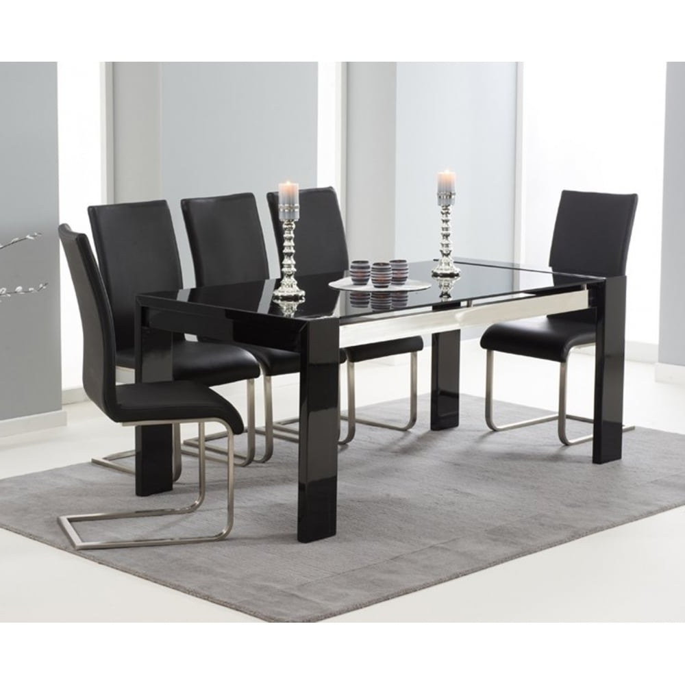 Well Liked Hi Gloss Dining Tables Sets Throughout Mark Harris Sophia Black 180Cm Hi Gloss Dining Set – Mark Harris (View 25 of 25)