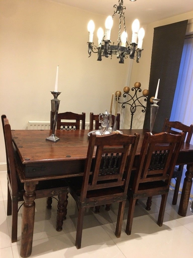 Well Liked Indian Dining Table, 6 Chairs, Book Case,stool,light Set,candlestick Regarding Indian Dining Chairs (View 22 of 25)