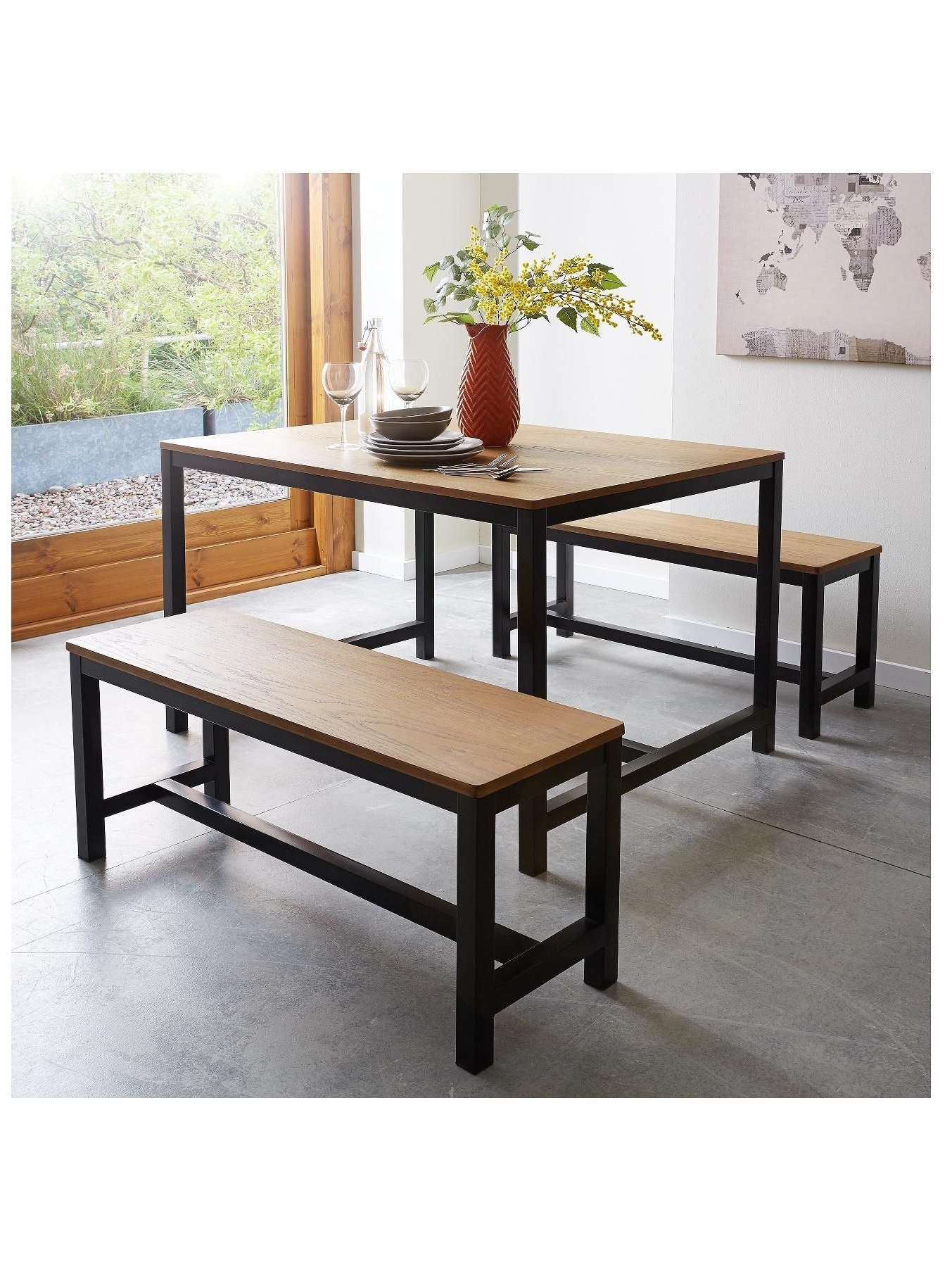 Well Liked Industrial Solid Top Dining Table And Set Of 2 Benches (View 23 of 25)