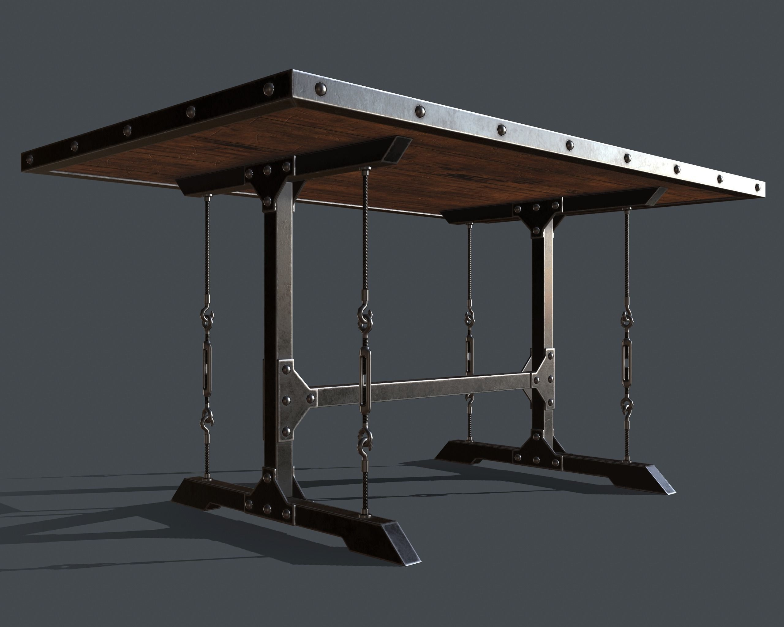 Well Liked Industrial Style Dining Tables With Industrial Style Dining Table 3D Asset (View 16 of 25)