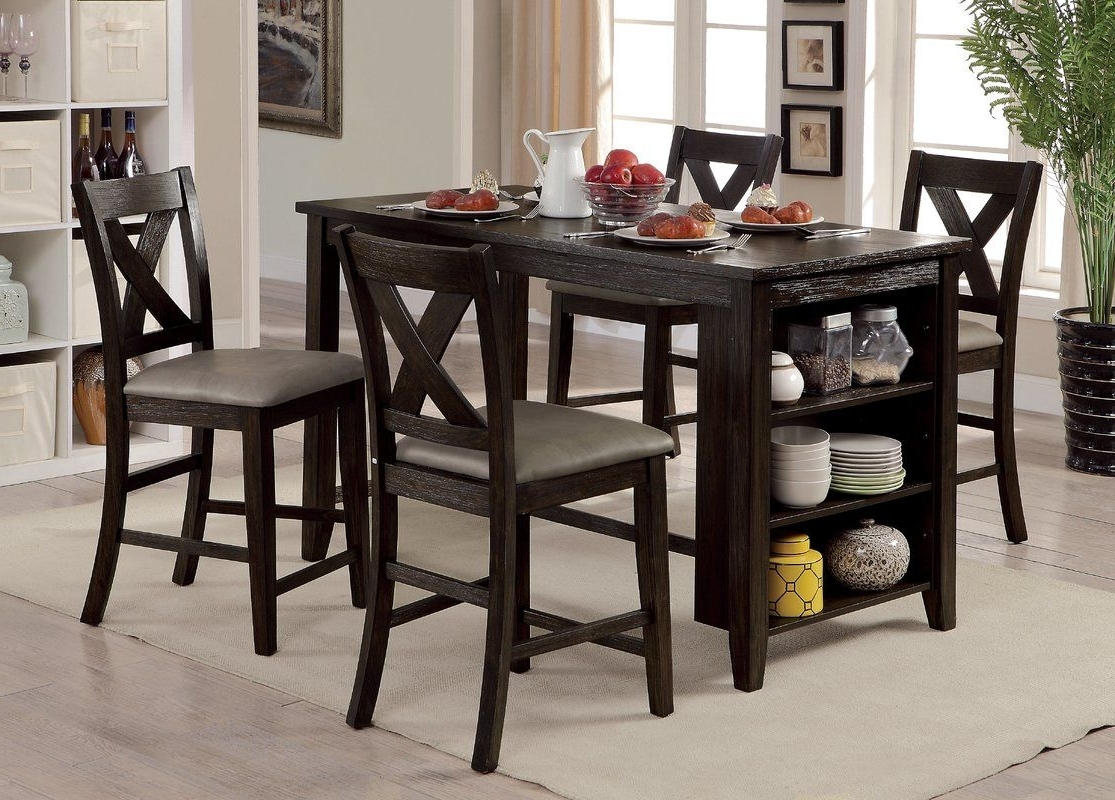 Well Liked Jameson Grey 5 Piece Counter Sets In Hornbeck Counter Height Dining Table (View 9 of 25)