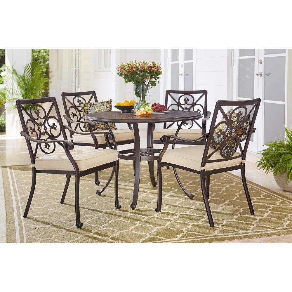 Well Liked Jaxon 5 Piece Round Dining Sets With Upholstered Chairs For Hampton Bay Ainsworth 5 Piece Aluminum Round Outdoor Dining Set With (View 8 of 25)