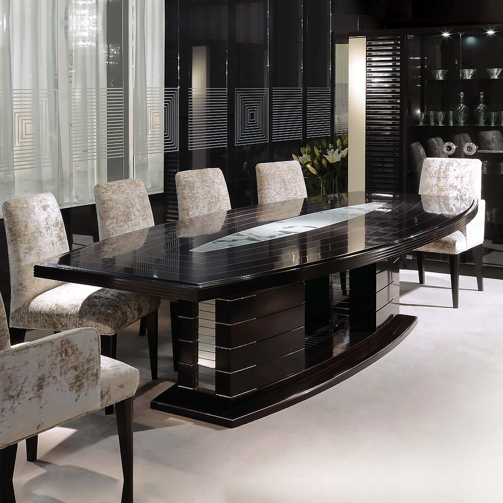 Well Liked Large Modern Ebony Dining Table Set Featuring Swarovski Crystals Pertaining To Crystal Dining Tables (View 3 of 25)