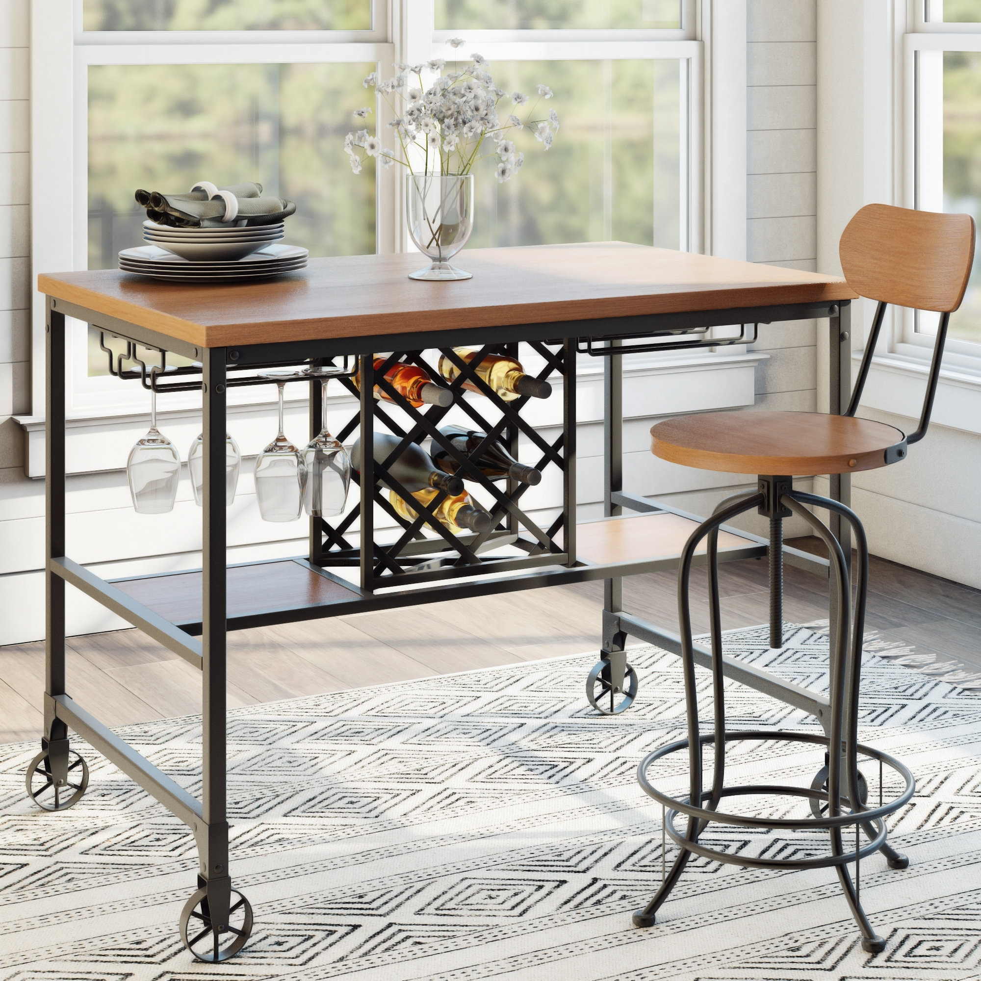 Well Liked Laurel Foundry Modern Farmhouse Elberton 5 Piece Counter Height In Caira Black 5 Piece Round Dining Sets With Upholstered Side Chairs (View 12 of 25)