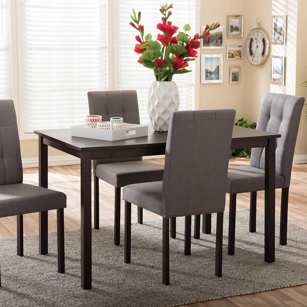 Well Liked Laurent 7 Piece Rectangle Dining Sets With Wood Chairs With Regard To Baxton Studio Andrew 9 Grids 5 Piece Gray Fabric Upholstered Dining (View 24 of 25)