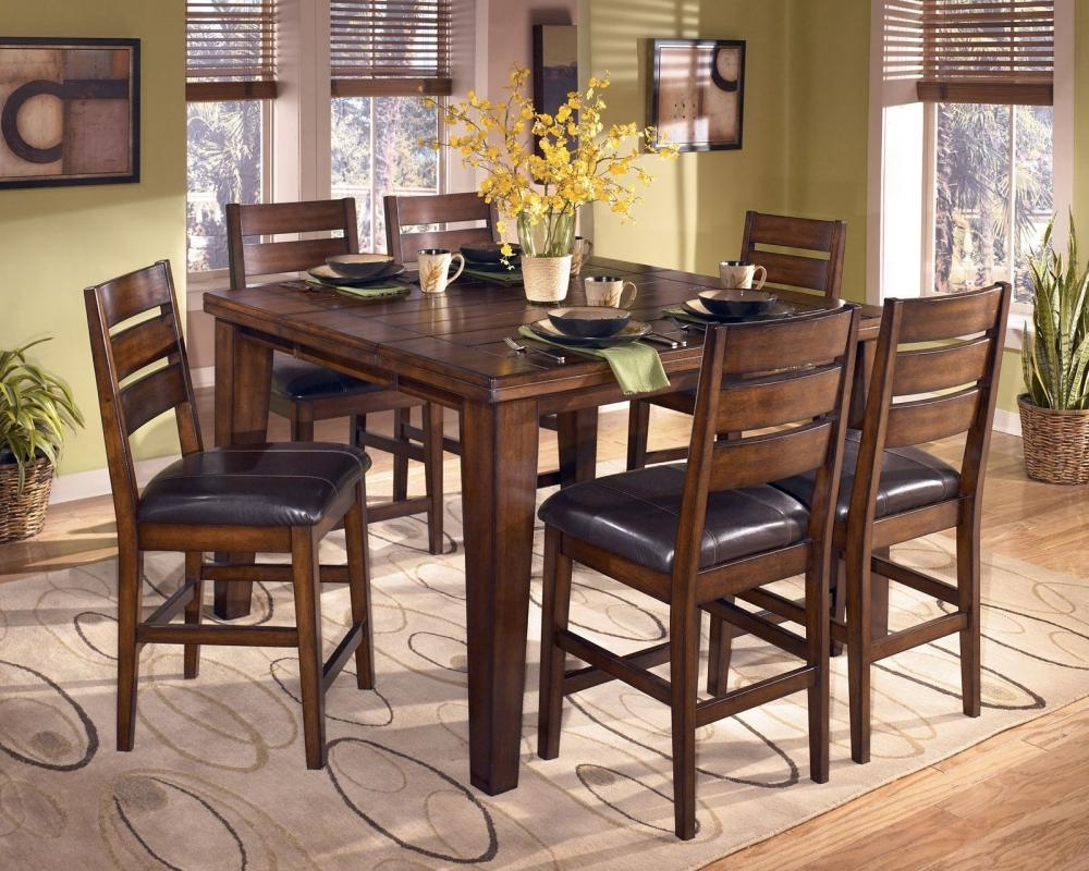 Well Liked Leon 7 Piece Dining Sets Regarding Easton 7 Pieces Cottage Brown Square Counter Height Dining Room (View 13 of 25)