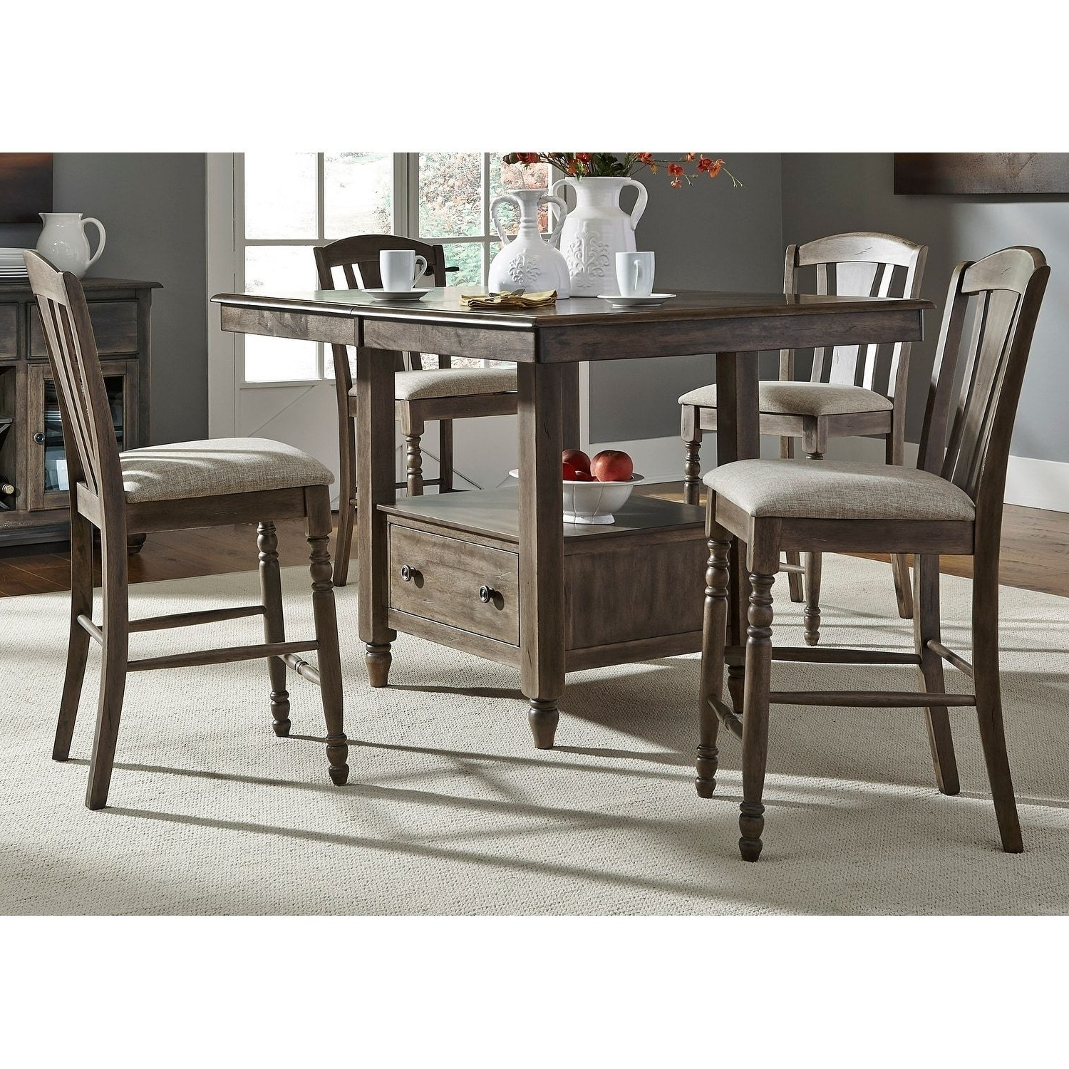 Well Liked Liberty Candlewood Weather Grey 7 Piece Slat Back Gathering Dinette Pertaining To Combs 7 Piece Dining Sets With  Mindy Slipcovered Chairs (View 25 of 25)