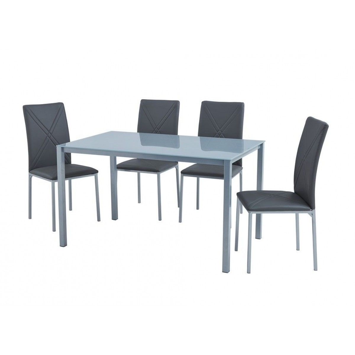 Well Liked Luxury Grey Glass Dining Table & 4 Faux Leather Chairs Set – Home Done Inside Grey Glass Dining Tables (View 23 of 25)