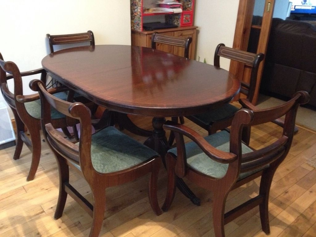 Well Liked Mahogany Inlaid 8 Seater Extendable Dining Table With 8 Chairs For Extendable Dining Tables With 8 Seats (View 13 of 25)