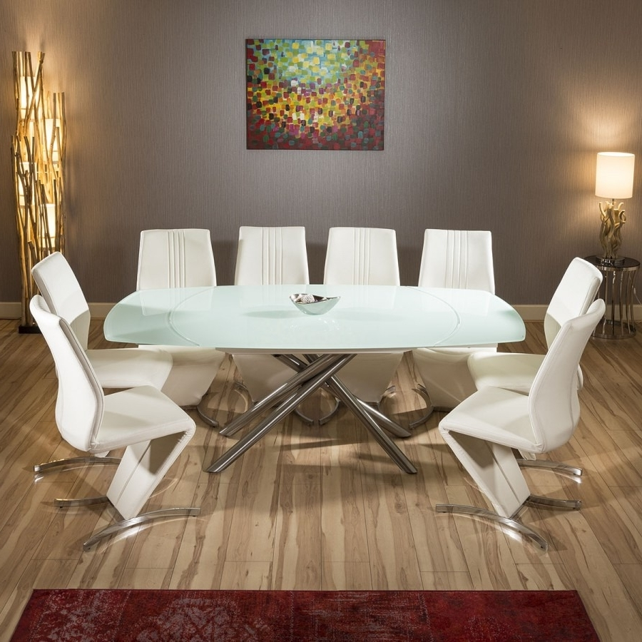 Well Liked Modern White Glass Extending Dining Table Set + 8 X White Z Chairs Inside Extending Dining Table And Chairs (View 25 of 25)