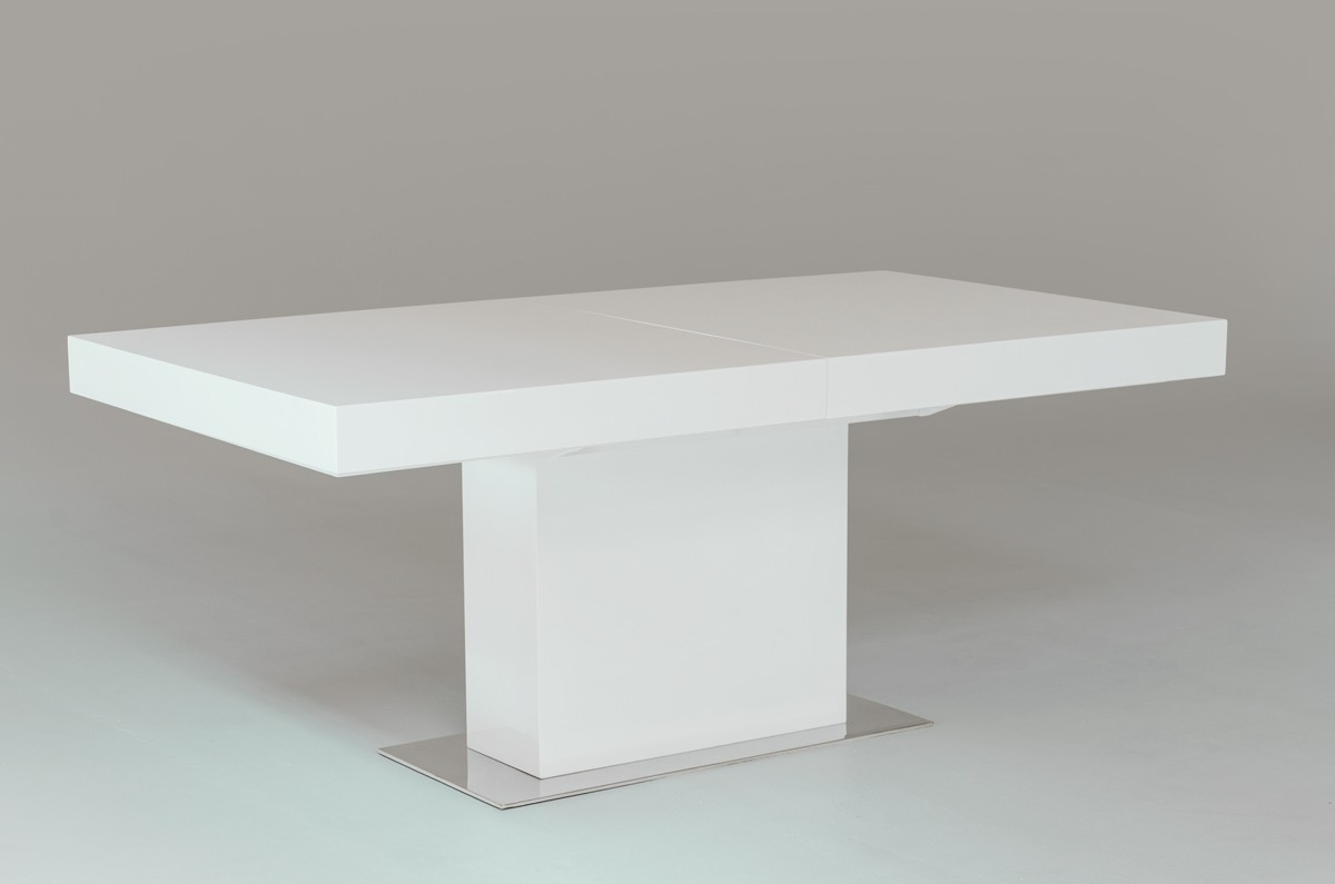 Well Liked Modern White Lacquer Extendable Dining Table With Chrome Metal Regarding Cream Lacquer Dining Tables (View 21 of 25)