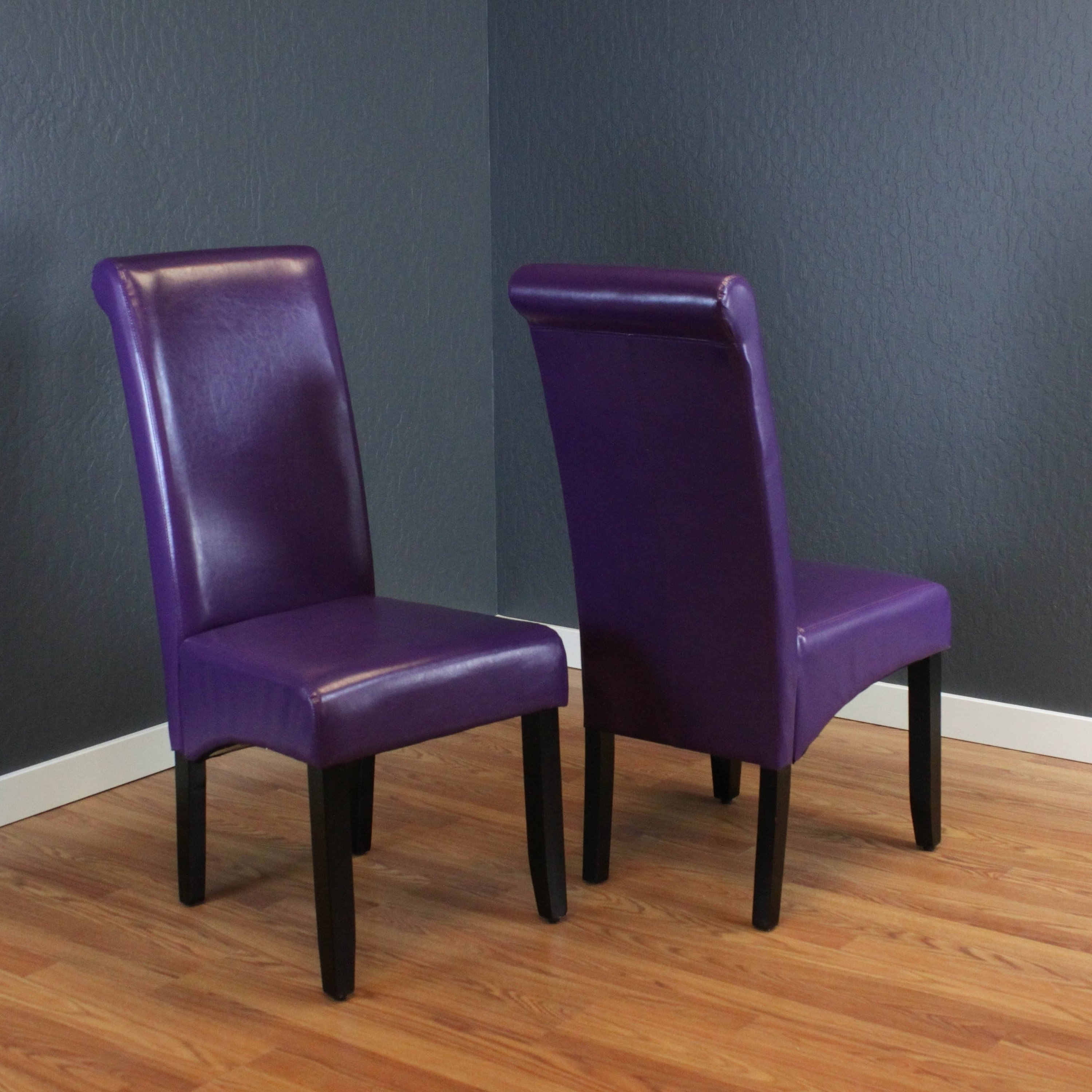 Well Liked Purple Faux Leather Dining Chairs Throughout Shop Monsoon Milan Boysenberry Faux Leather, Foam, And Espresso (View 8 of 25)