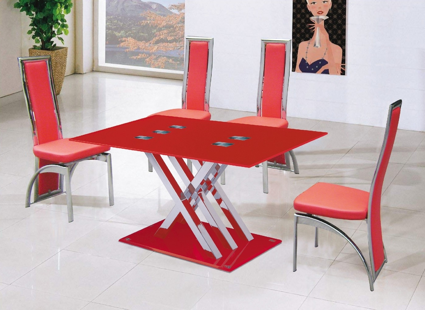 Well Liked Red Dining Table Set – Castrophotos Within Red Dining Tables And Chairs (View 24 of 25)