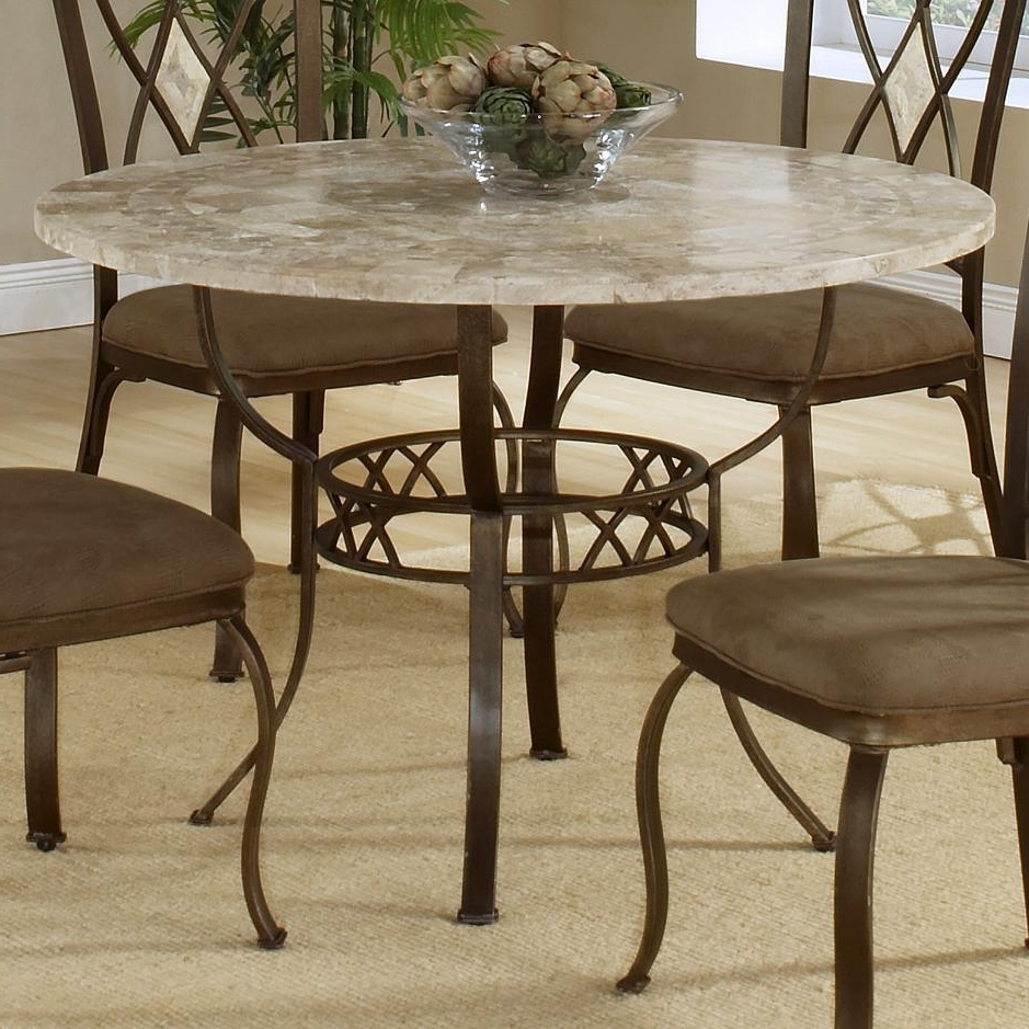 Well Liked Round Dining Table With Fossil Stone Tophillsdale (View 22 of 25)