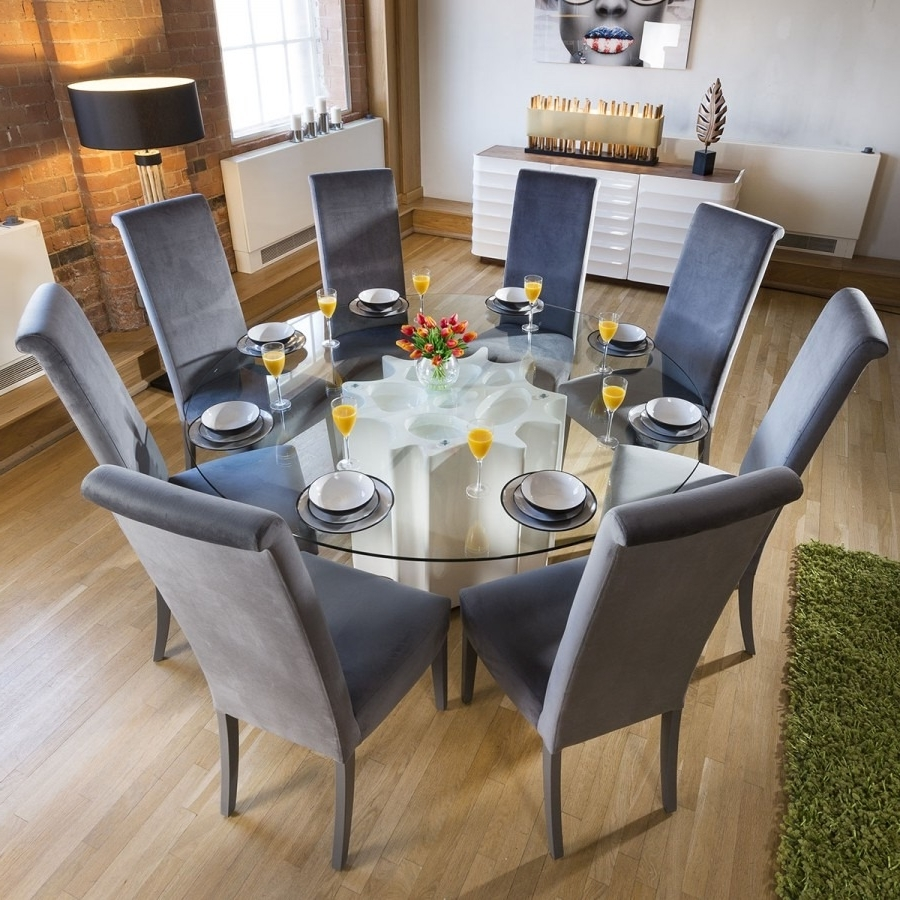 Well Liked Round Glass Top White Gloss Dining Table 8 Grey Velvet High Back Regarding Glass And White Gloss Dining Tables (View 25 of 25)