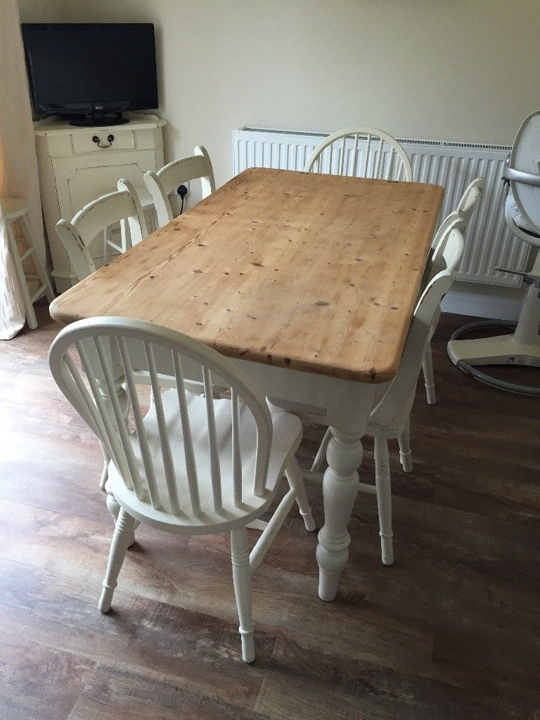 Well Liked Shabby Chic Painted Cream Pine Farmhouse Dining Table And Six Chairs Inside Shabby Chic Cream Dining Tables And Chairs (View 24 of 25)