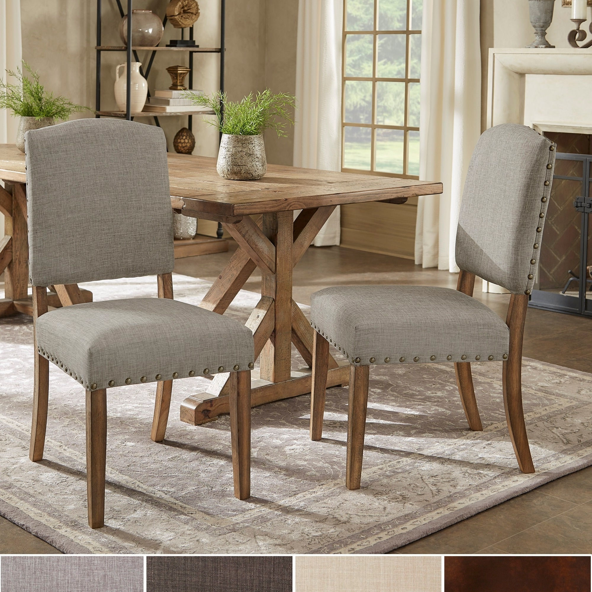 Well Liked Shop Benchwright Premium Nailhead Upholstered Dining Chairs (Set Of In Candice Ii 5 Piece Round Dining Sets (View 11 of 25)