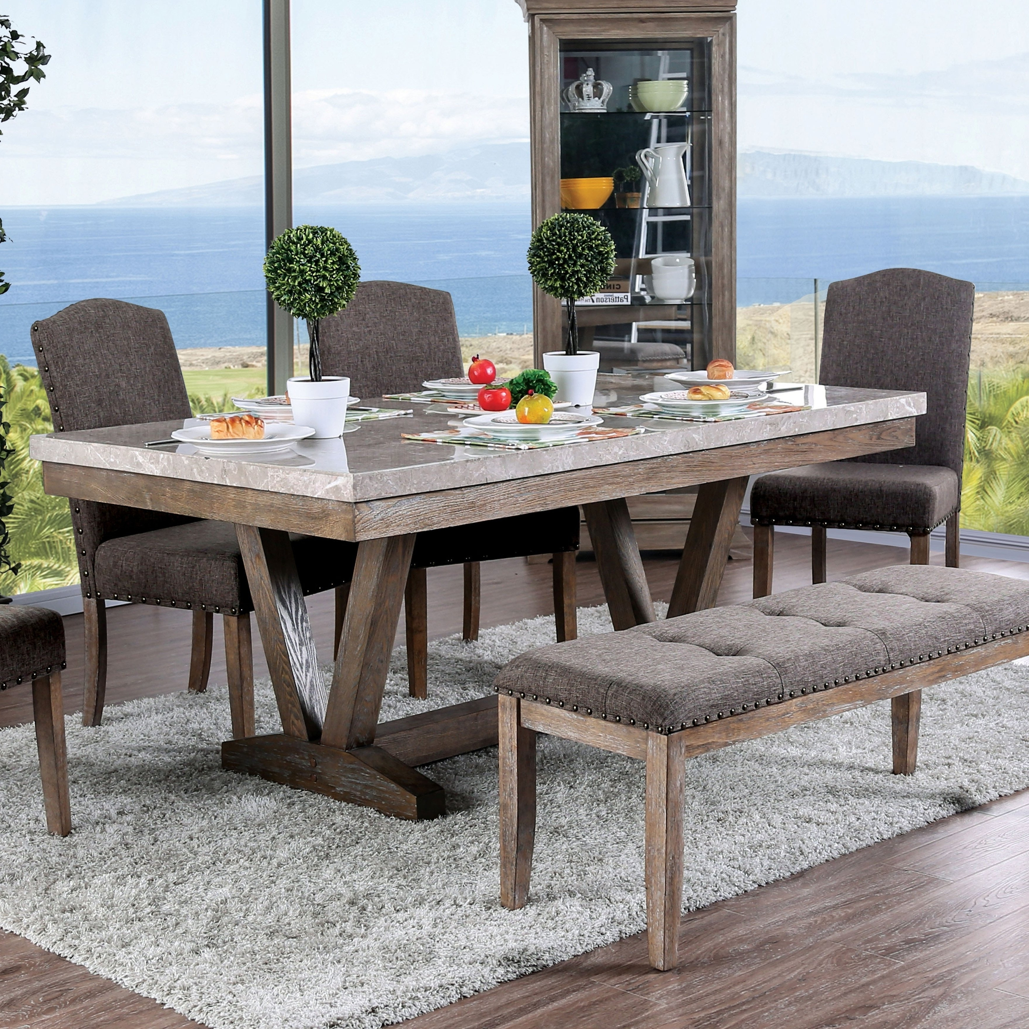Well Liked Shop Furniture Of America Emmiyah Rustic Genuine Marble Dining Table Within Patterson 6 Piece Dining Sets (View 25 of 25)