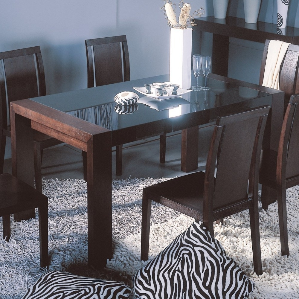 Well Liked Simple Design Glass Top Dining Table Ideas Featuring Rectangle Shape Within Dark Wooden Dining Tables (View 25 of 25)