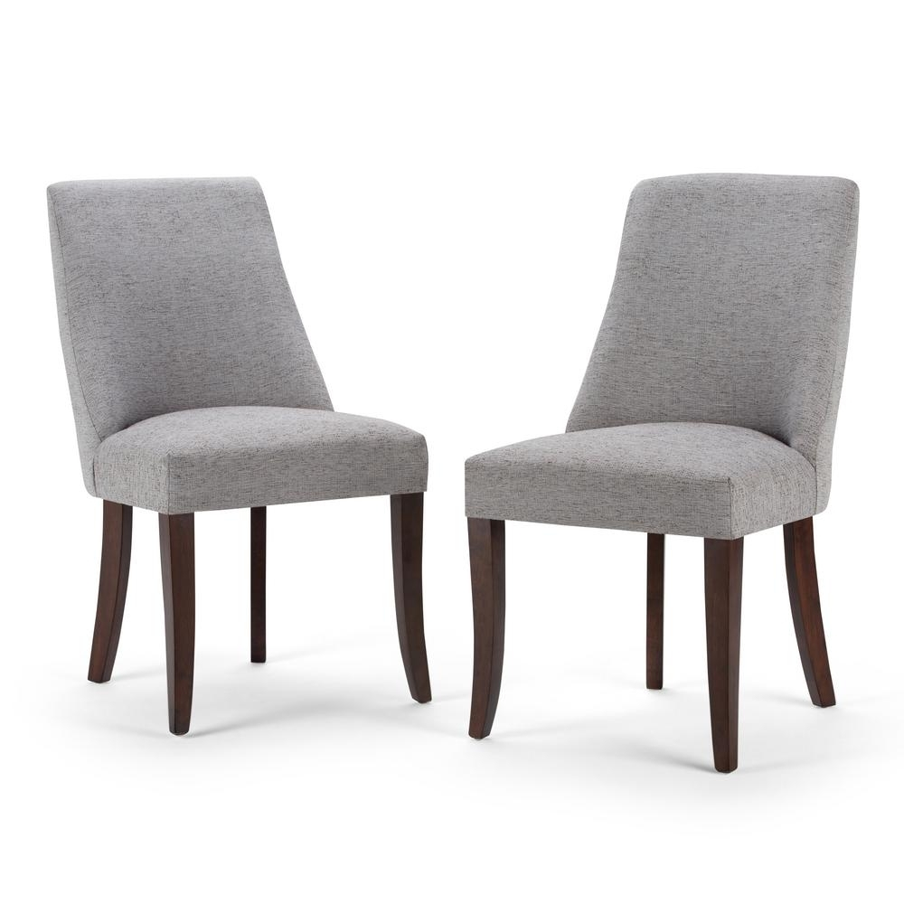 Well Liked Simpli Home Walden Grey Fabric Dining Chair (Set Of 2) Within Fabric Dining Chairs (View 22 of 25)