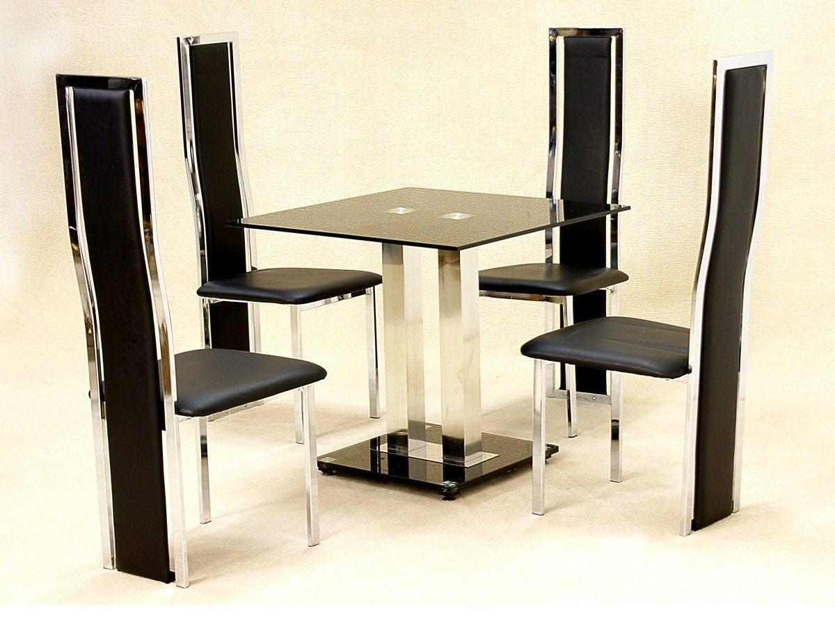 Well Liked Small Square Glass Dining Table And 4 Faux Chairs In Black Intended For Square Black Glass Dining Tables (View 20 of 25)