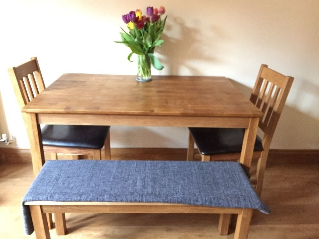 Well Liked Walden Extension Dining Tables For Oak Dining Table, Two Dining Chairs, One Bench (View 15 of 25)