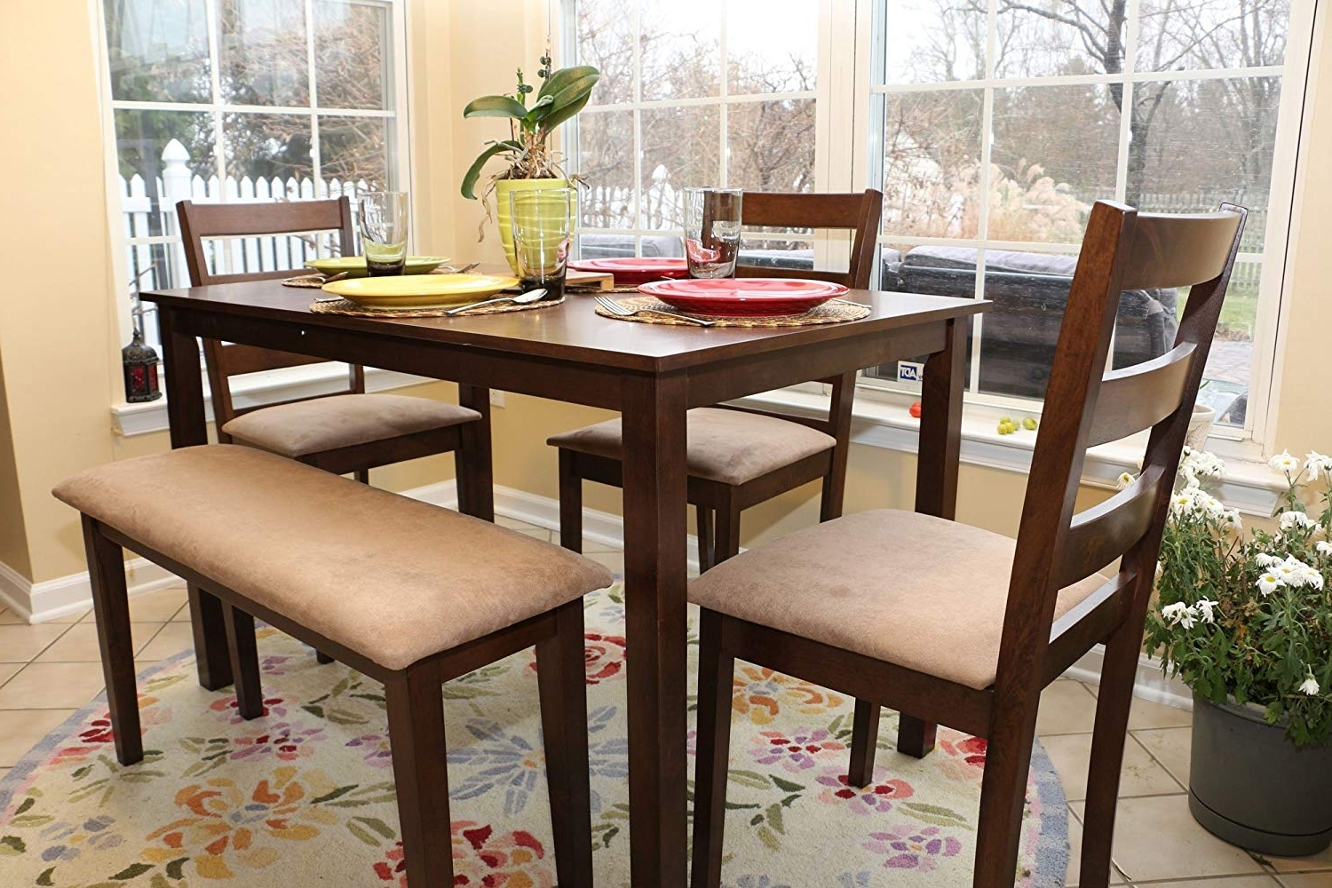 Well Liked Walnut Dining Table Sets In Amazon – 5Pc Dining Dinette Table Chairs & Bench Set Walnut (View 25 of 25)