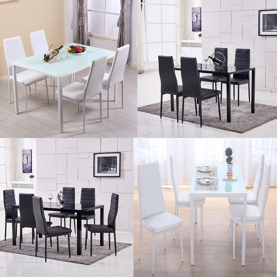 Well Liked White Glass Dining Tables And Chairs With Regard To Black / White Glass Dining Table And 4 / 6 Chairs Set Faux Leather (View 12 of 25)
